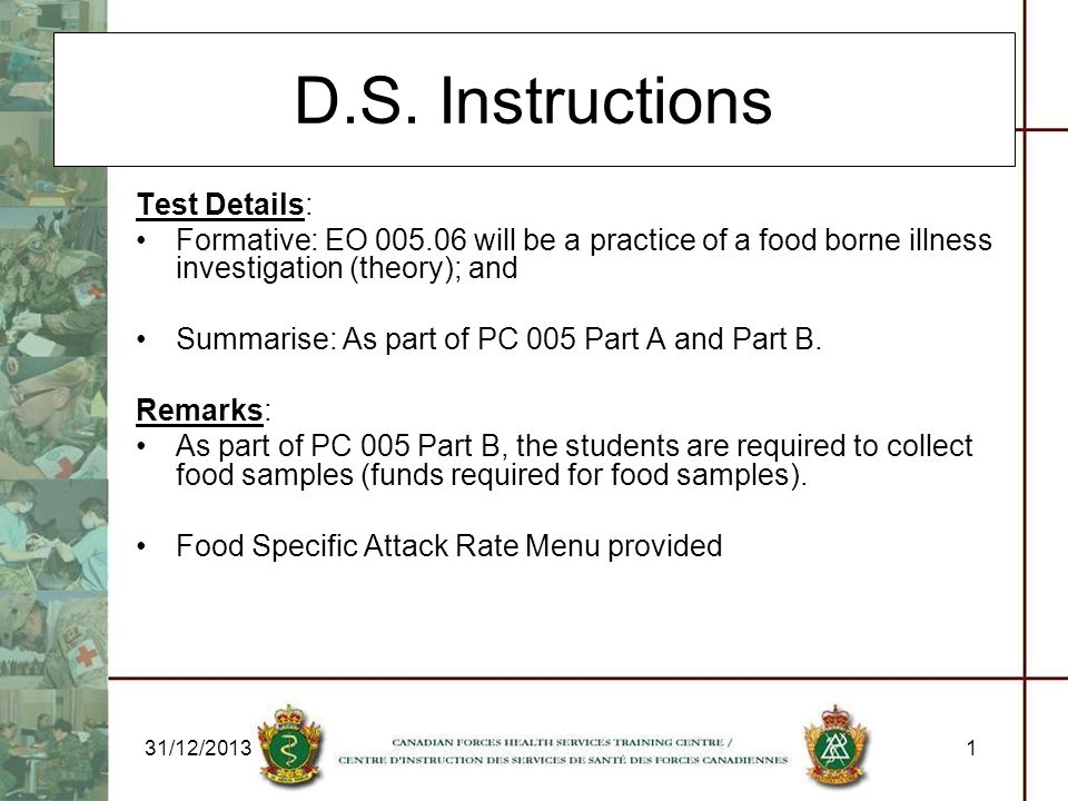 D.S. Instructions Test Details: