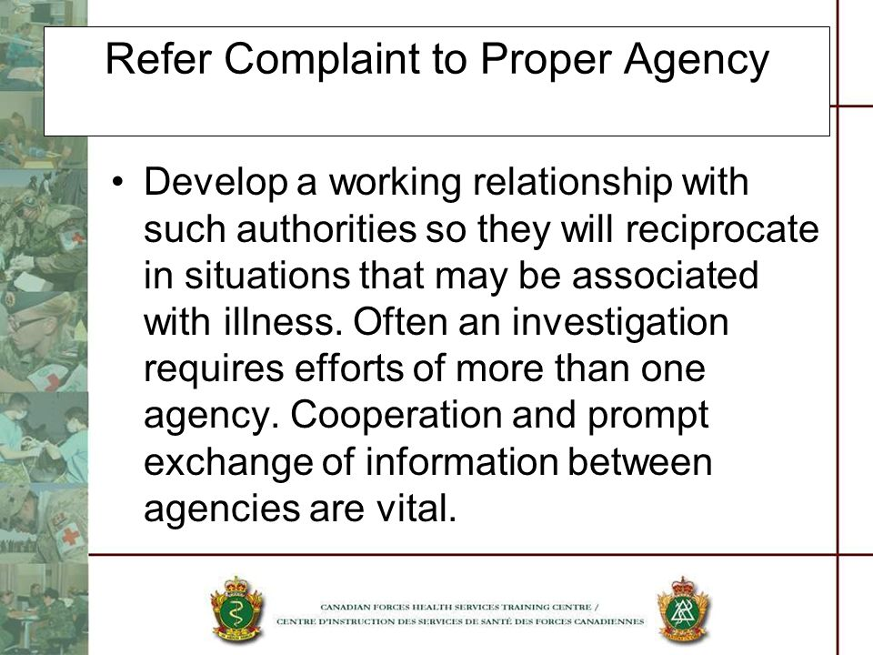 Refer Complaint to Proper Agency