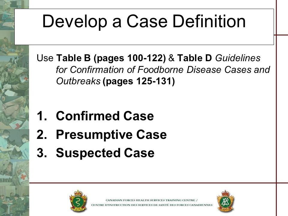 Develop a Case Definition