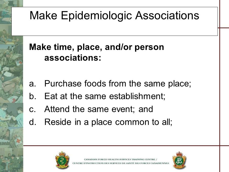 Make Epidemiologic Associations