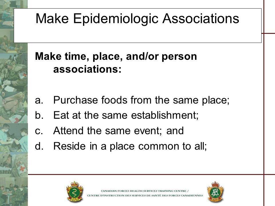 Make Epidemiologic Associations