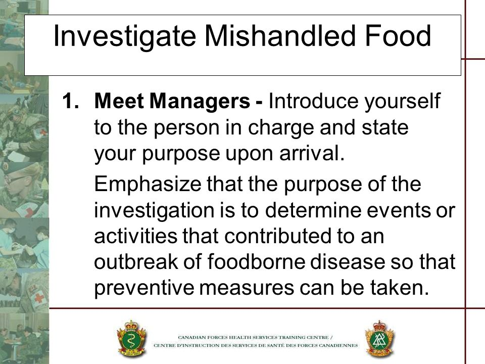 Investigate Mishandled Food
