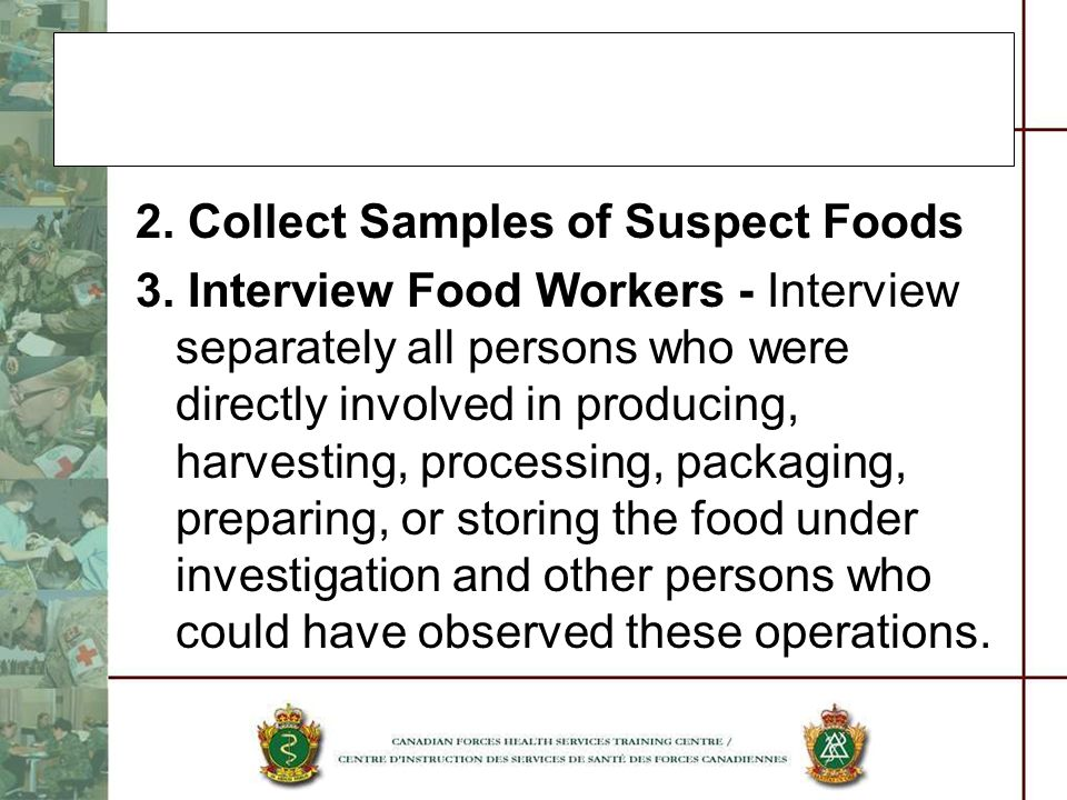 2. Collect Samples of Suspect Foods