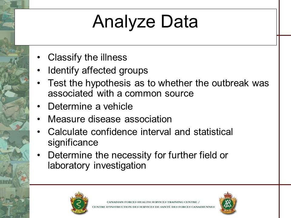 Analyze Data Classify the illness Identify affected groups