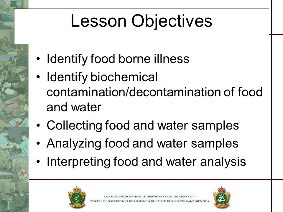 Lesson Objectives Identify food borne illness