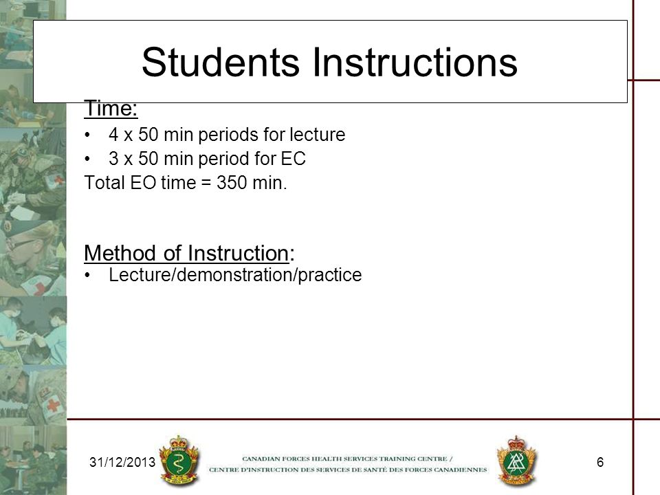 Students Instructions