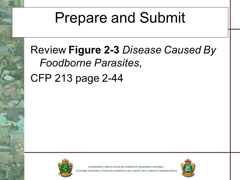 Prepare and Submit Review Figure 2-3 Disease Caused By Foodborne Parasites, CFP 213 page