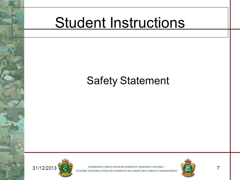 Student Instructions Safety Statement 25/03/2017