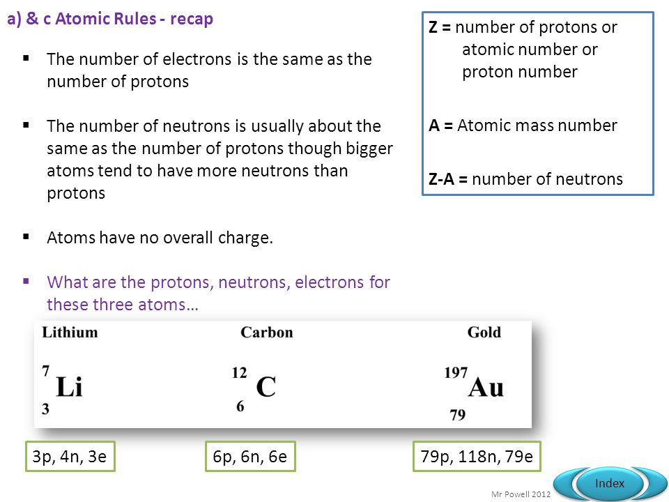 a) & c Atomic Rules - recap