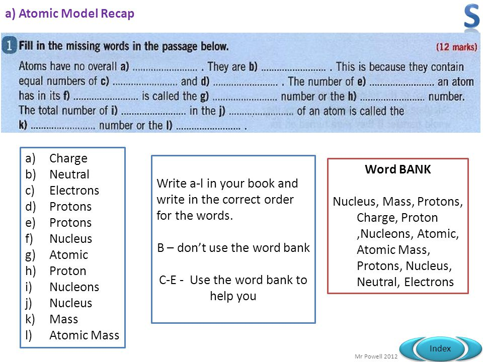 S a) Atomic Model Recap Charge Neutral Word BANK Electrons