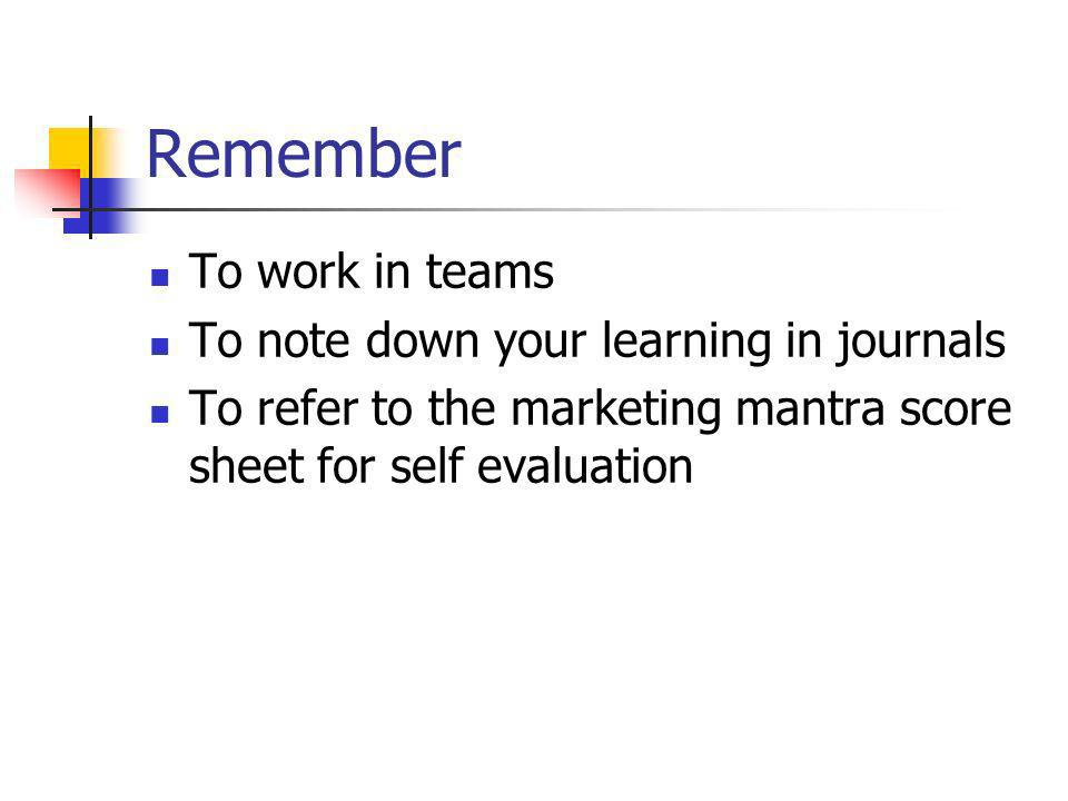 Remember To work in teams To note down your learning in journals