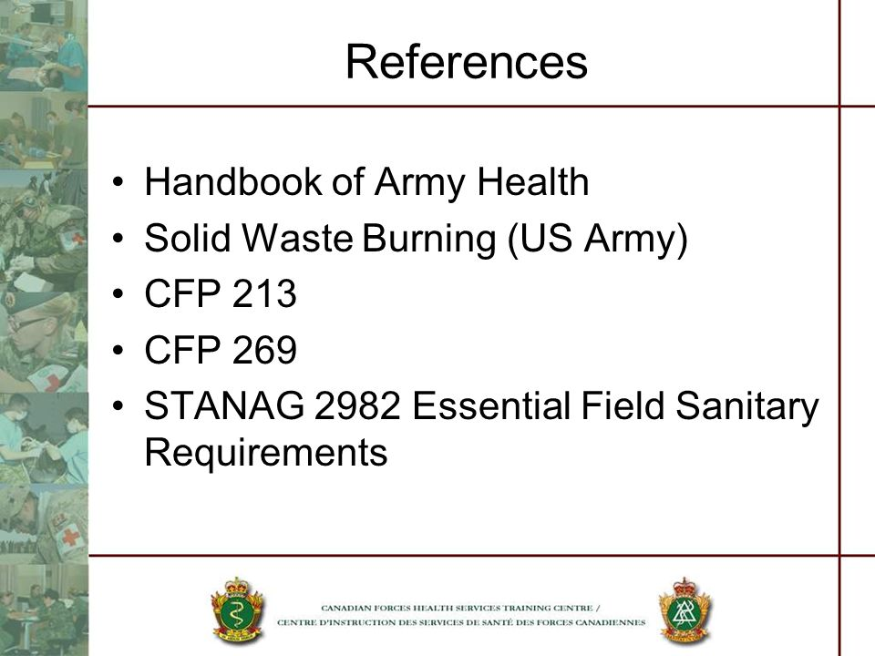 References Handbook of Army Health Solid Waste Burning (US Army)