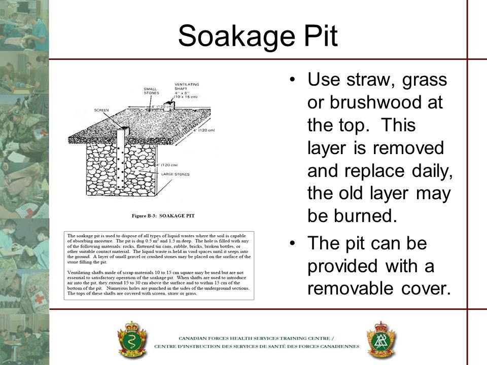 Soakage Pit Use straw, grass or brushwood at the top. This layer is removed and replace daily, the old layer may be burned.