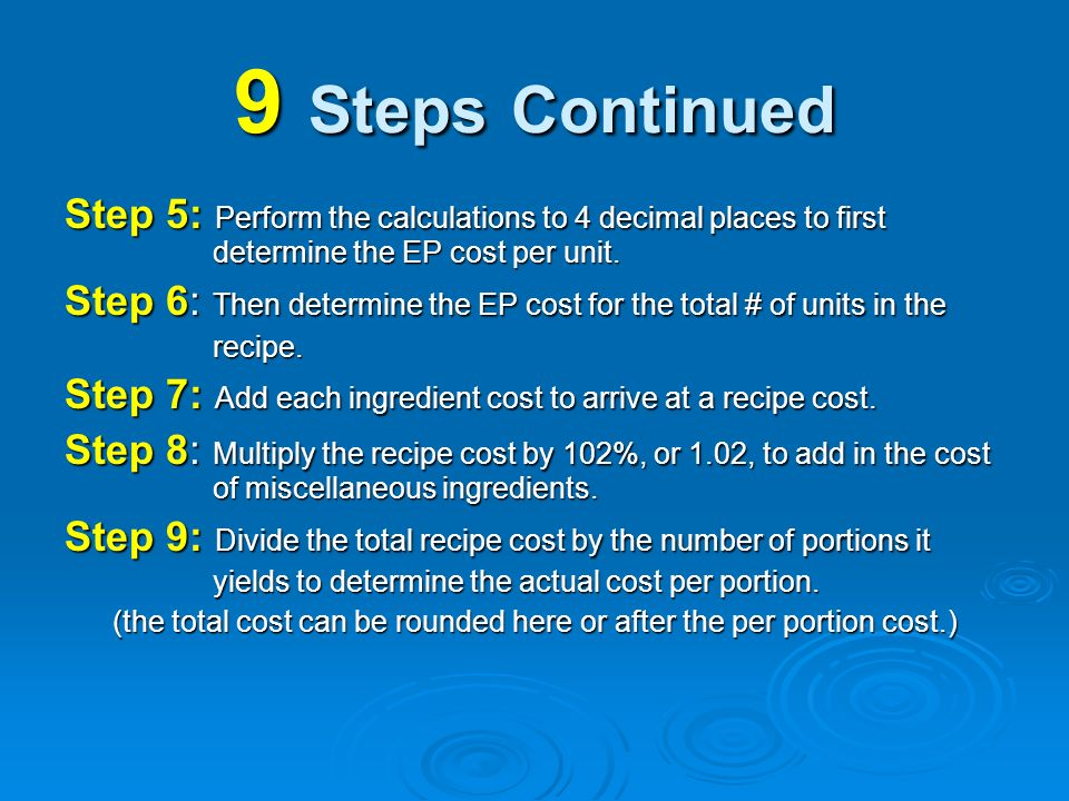 (the total cost can be rounded here or after the per portion cost.)