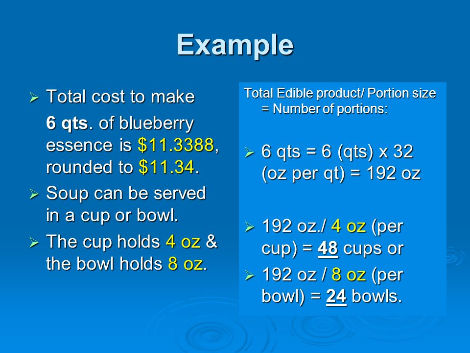 Example Total cost to make