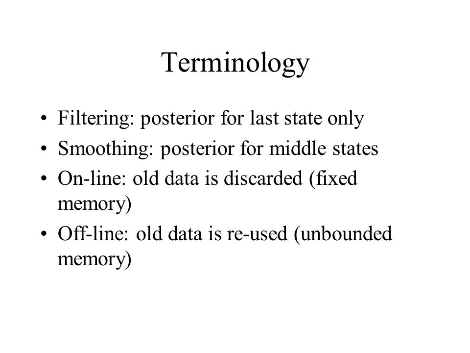 Terminology Filtering: posterior for last state only