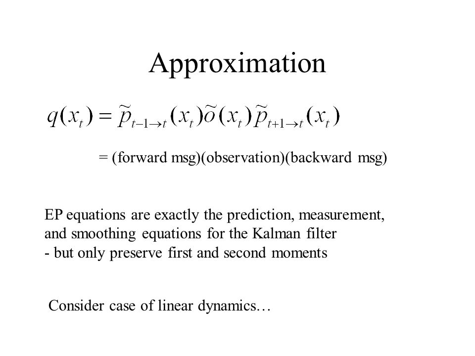 Approximation = (forward msg)(observation)(backward msg)