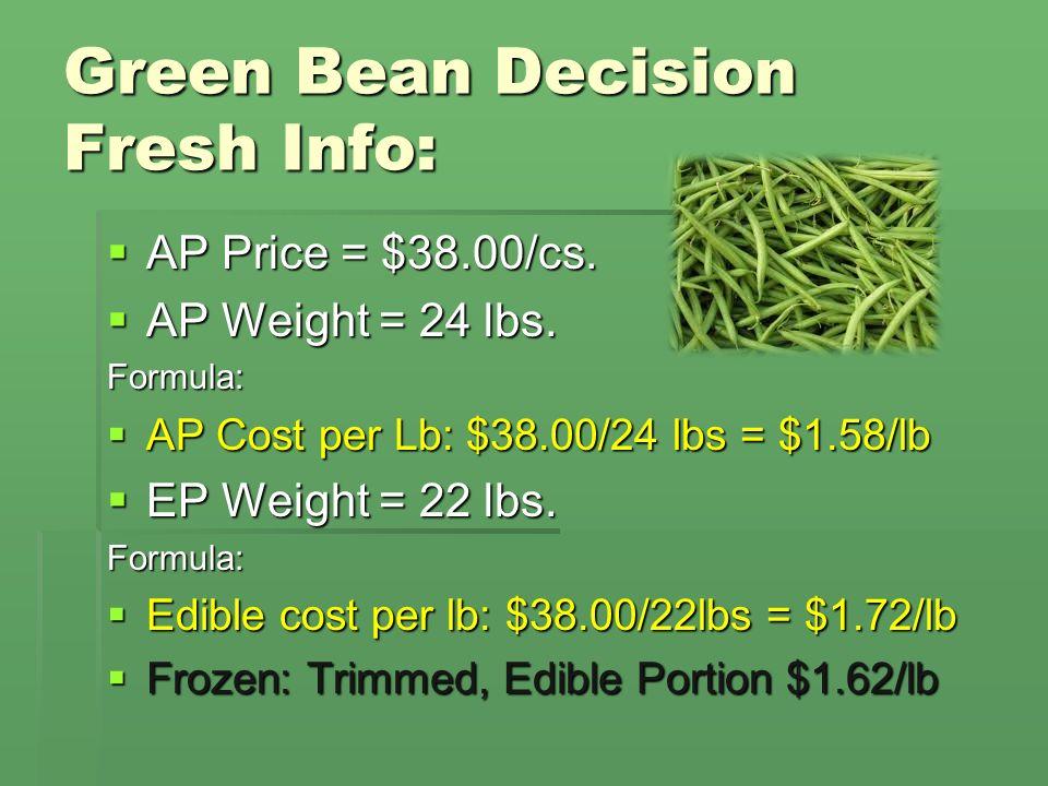 Green Bean Decision Fresh Info: