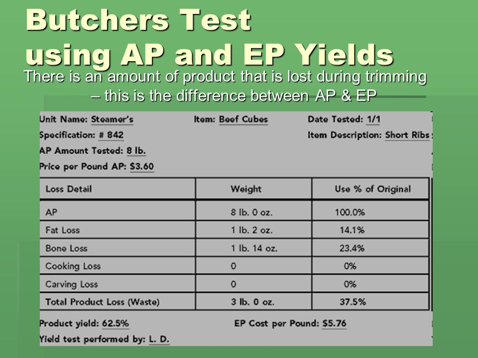Butchers Test using AP and EP Yields