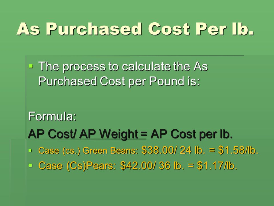 As Purchased Cost Per lb.