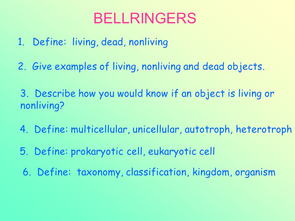 BELLRINGERS Define: living, dead, nonliving.