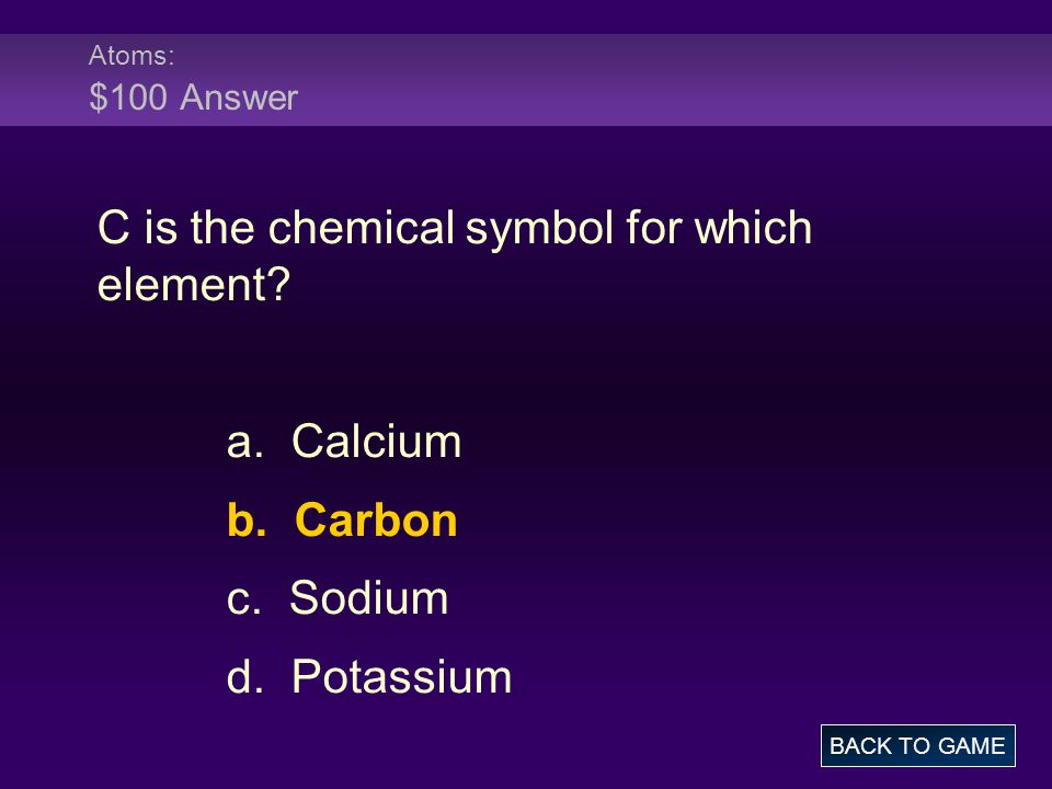 C is the chemical symbol for which element