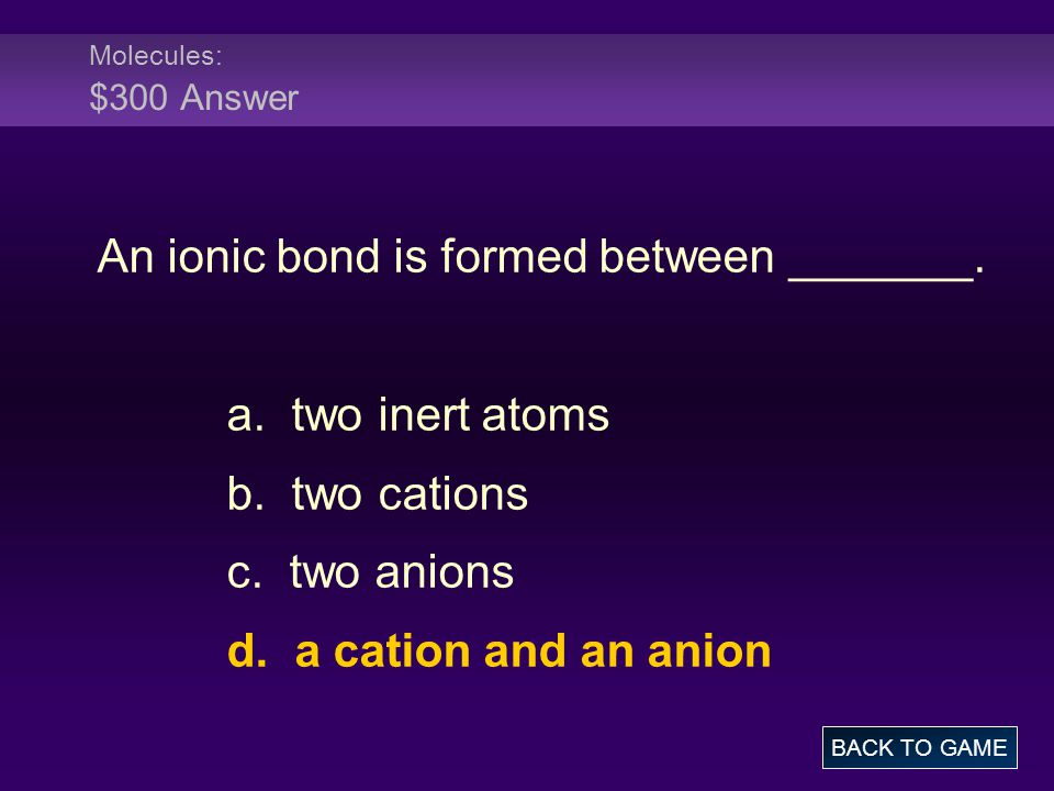 An ionic bond is formed between _______.