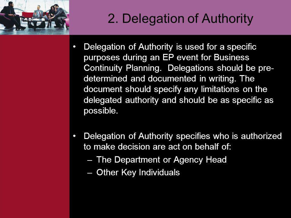 2. Delegation of Authority