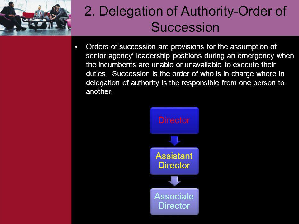 2. Delegation of Authority-Order of Succession