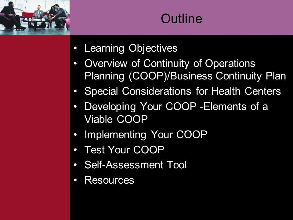 Outline Learning Objectives