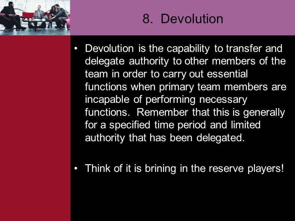 8. Devolution