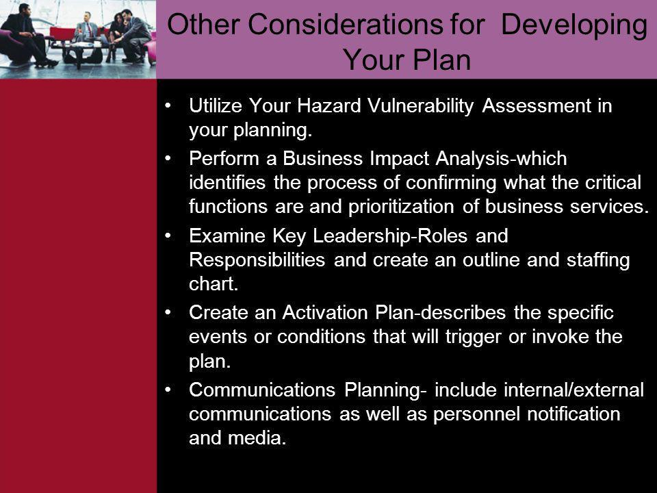 Other Considerations for Developing Your Plan
