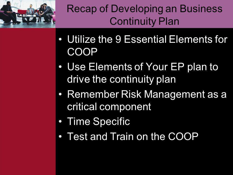 Recap of Developing an Business Continuity Plan