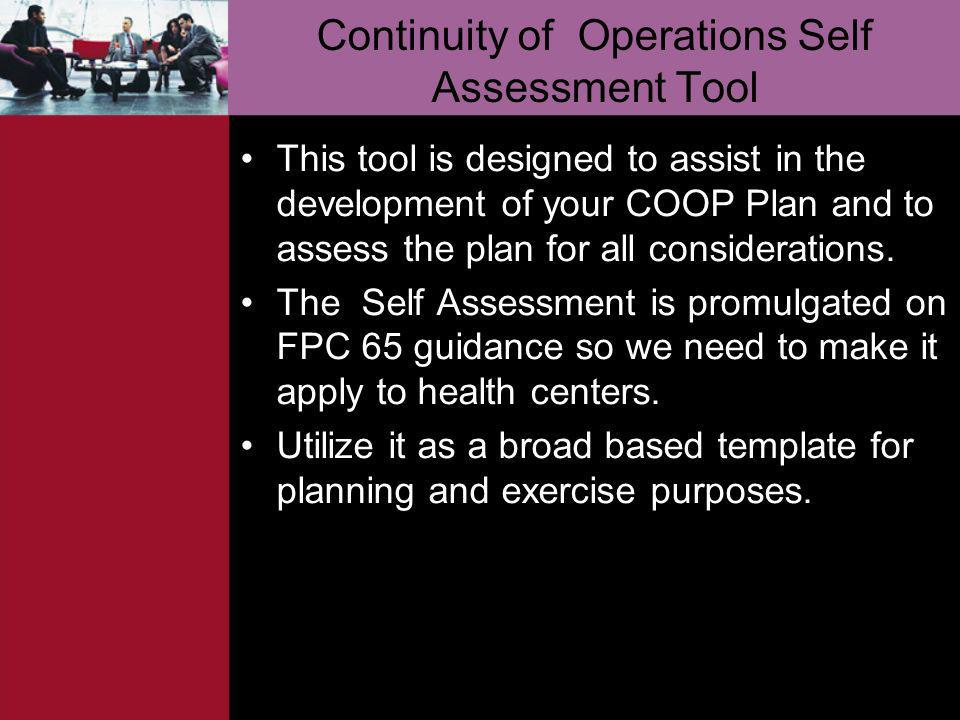 Continuity of Operations Self Assessment Tool