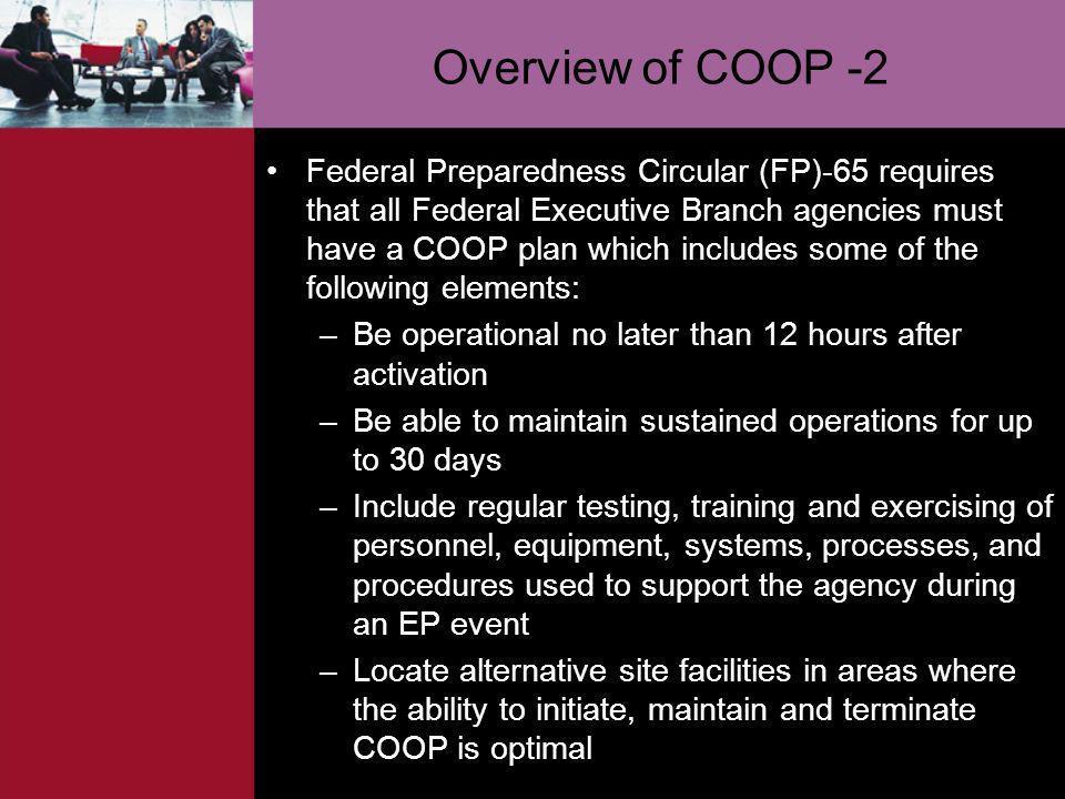 Overview of COOP -2