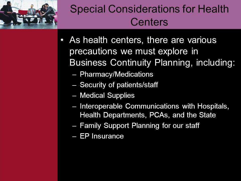 Special Considerations for Health Centers