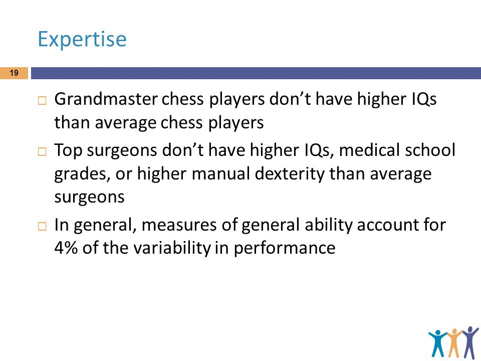 Expertise Grandmaster chess players don't have higher IQs than average chess players.