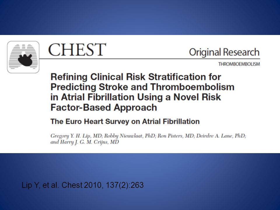 Lip Y, et al. Chest 2010, 137(2):263