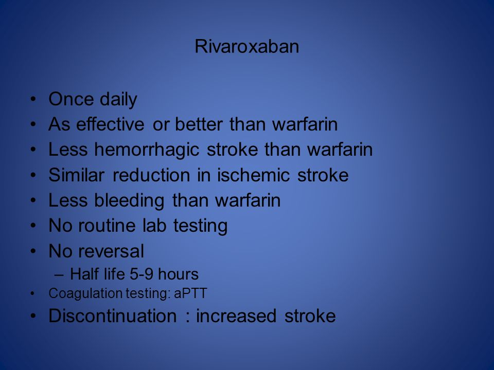 As effective or better than warfarin