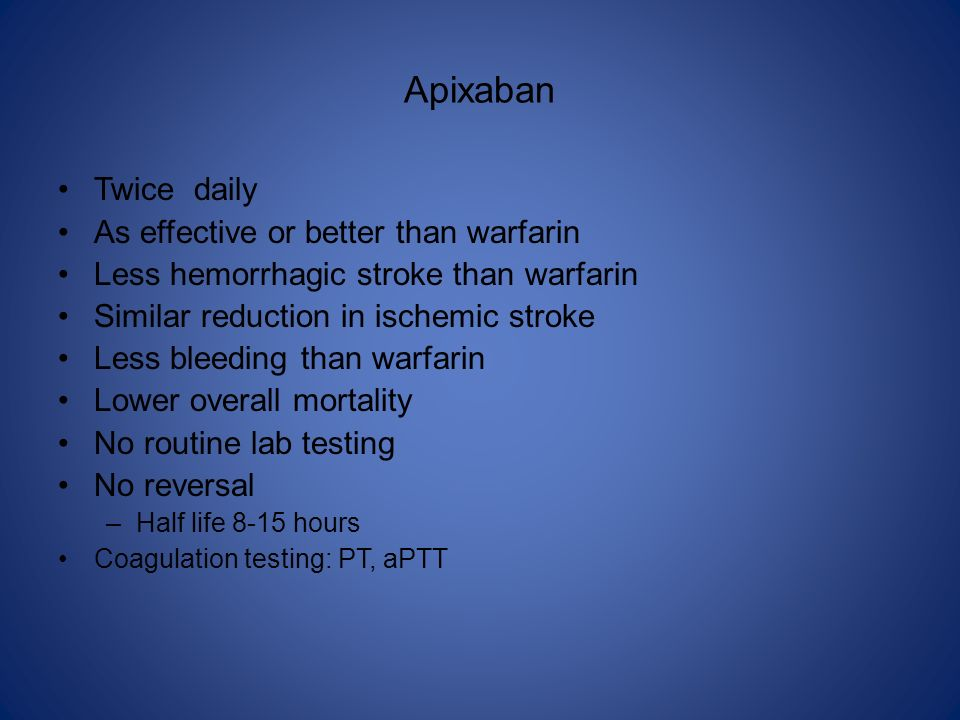 Apixaban Twice daily As effective or better than warfarin
