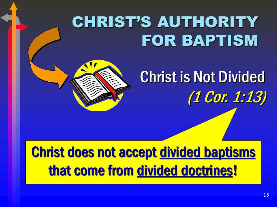 Christ is Not Divided (1 Cor. 1:13) CHRIST'S AUTHORITY FOR BAPTISM