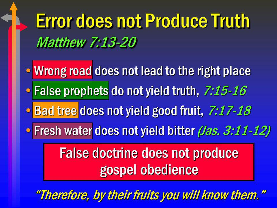 Error does not Produce Truth Matthew 7:13-20