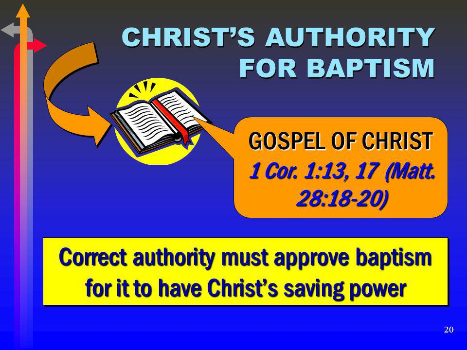 CHRIST'S AUTHORITY FOR BAPTISM