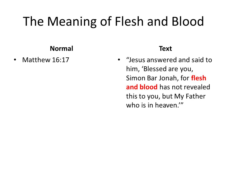 The Meaning of Flesh and Blood