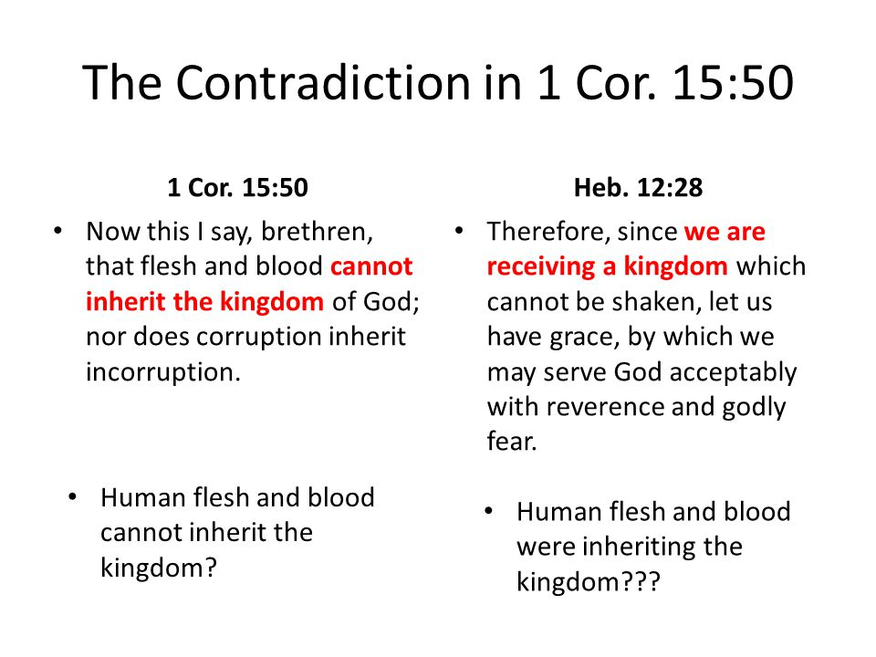 The Contradiction in 1 Cor. 15:50