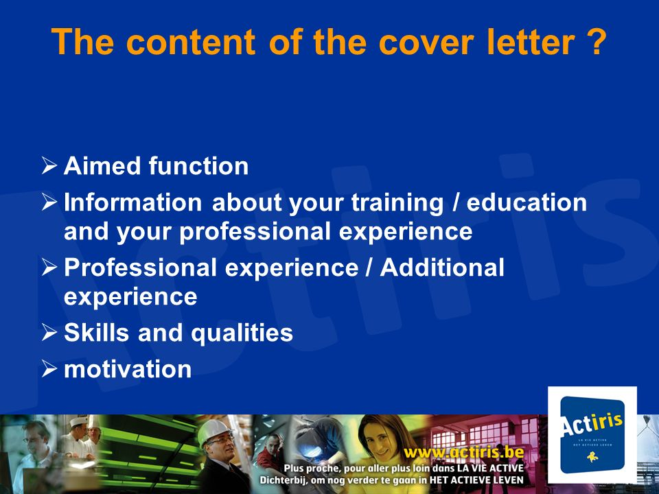 The content of the cover letter