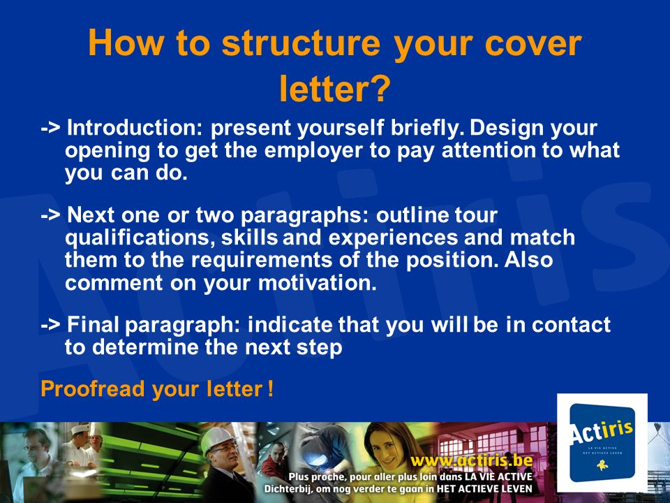 How to structure your cover letter