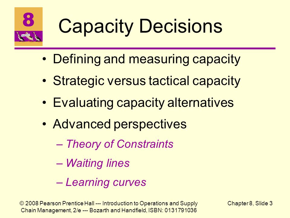 Capacity Decisions Defining and measuring capacity