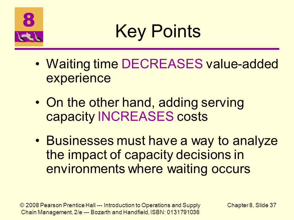 Key Points Waiting time DECREASES value-added experience