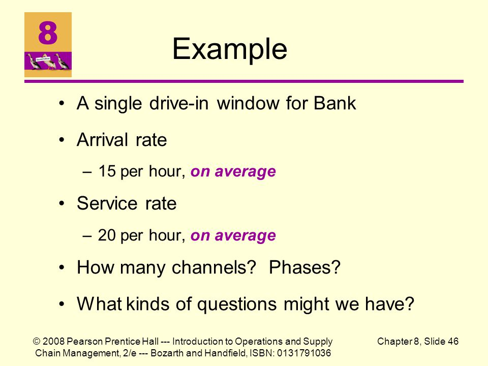 Example A single drive-in window for Bank Arrival rate Service rate